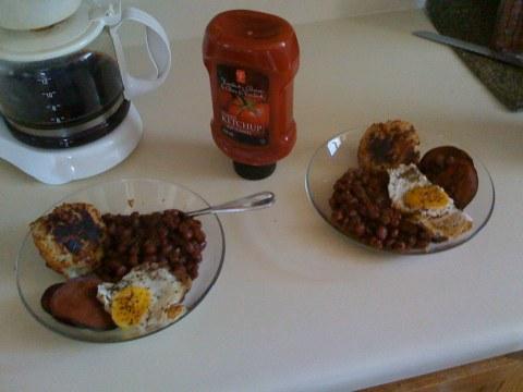 home fishcakes, beans, eggs